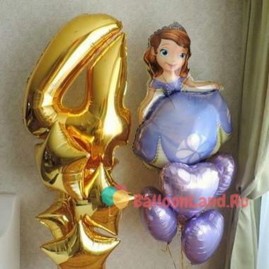 Композиция из гелиевых шаров София Прекрасная с сердцами, цифрой и звездами