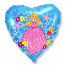 Шар-сердце Принцесса (синий)