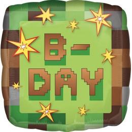 Шар-квадрат Майнкрафт с надписью B-day