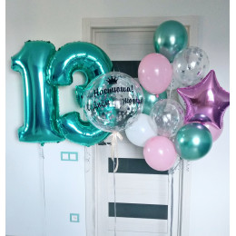 Букет с шариком-bubbles и цифрами на 13 лет для дочери
