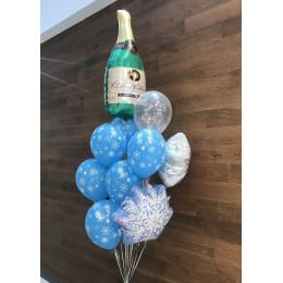 Букет Новогодний со снежинками и бутылкой шампанского