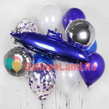 Набор с синей подводной лодкой и гелиевыми шариками