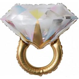 Фигурный шар кольцо со сверкающим бриллиантом