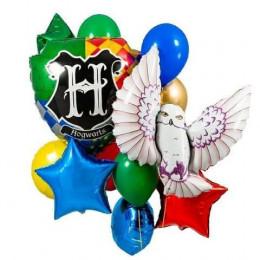 Композиция с гелиевыми шариками с совами и конфетти, Гарри Поттер