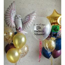 Набор с двумя фонтанам, совой и Вашим поздравлением в стиле Гарри Поттера