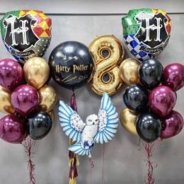 Композиция на 8 лет Гарри Поттер из шаров бургунди с совой