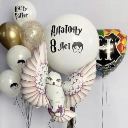Композиция с большим белым шаром и совой в стиле Поттера на 8 лет