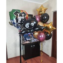 Композиция с летучей мышью и шарами хром в стиле Поттера на 6 лет