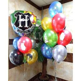 Композиция с воздушными шарами Гарри Поттер и гербом Хогвартса