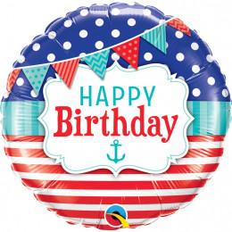 Шар-круг с гирляндой, морской, Happy birthday