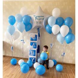 Композицияиз  шаров на крещение мальчику в голубом цвете со звездой