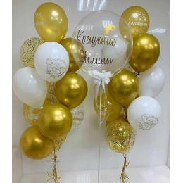 Композиция для девочки с пузырем с перьями и золотыми шариками на крещение