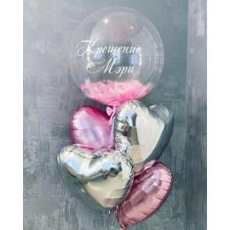 Букет из сердечек и шара bubbles с перьями девочке на крещение