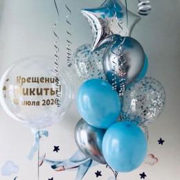 Сет для мальчика на крестины с серебряными и голубыми шариками