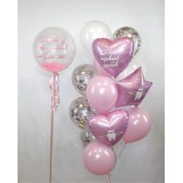 Композиция из шаров на первый зубик для маленькой принцессы