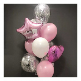 Букет на первый зубик для малышки в розовыми сердцем и звездой