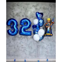 Набор шариков для строителя с надписью: Построил семью - построишь и дом