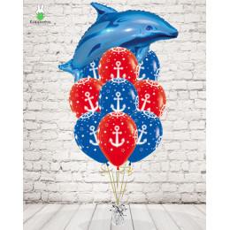 Букет с дельфинчиком и якорями на день ВМФ