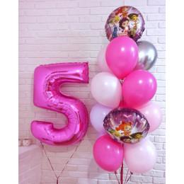 Композиция из шаров на пять лет Сказочный патруль с розовой цифрой