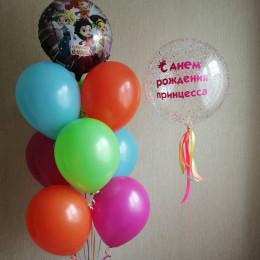 Композиция из шариков Сказочный патруль с большим шаром с конфетти на День Рождения