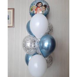 Фонтан из шариков с гелием в голубых оттенках Сказочный патруль
