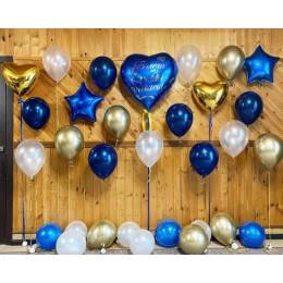 Набор на годовщину свадьбы с сине-золотой гамме с Вашей надписью