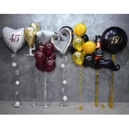 Набор с бутылкой виски и шампанским на 45 и 50 лет на юбилей