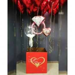 """Набор из шаров с красными сердцами под потолок и коробкой-сюрприз """"Скажи мне Да"""""""