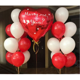 Композиция на Предложение девушке из двух красно-белых фонтанов с сердцем