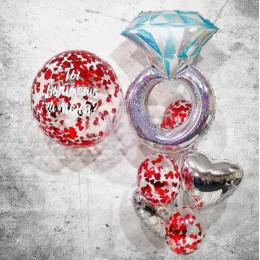 """Композиция """"Ты выйдешь за меня"""" с большим шаром конфетти в красном цвете и кольцом"""
