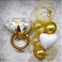 Фонтан из золотых шариков Будь моей женой на предложение руки и сердца