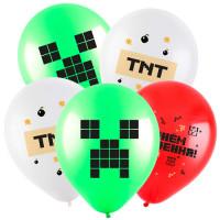 Шары Майнкрафт с надписями: С днем рожения и TNT