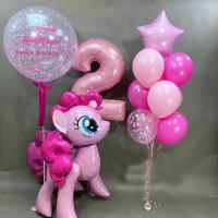 Композиция с ходячим шаром Пинки Пай и шаром-гигантом с конфетти любимой внучке на 2 года