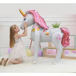 Ходячий шар Нежный Единорог с розовыми волосами - дополнительное фото #2
