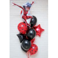 Букет шаров Леди Баг чёрно-красный со звёздами