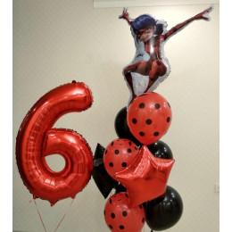 Композиция из шаров Цифра с букетом Леди Баг чёрно-красный со звёздами