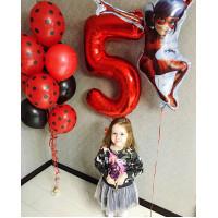 Композиция из шаров Леди Баг с цифрой и фонтаном - дополнительное фото #1