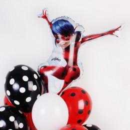 Букет шаров Леди Баг с чёрно-белыми шарами - дополнительное фото #1