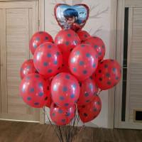 Букет шаров Леди Баг из 30 шаров с сердцем