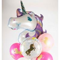Букет шариков Фиолетовый единорог