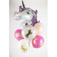 Букет шариков Фиолетовый единорог - дополнительное фото #2