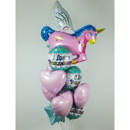 Букет шариков с розовым единорогом на день рождения - дополнительное фото #2