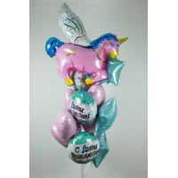 Букет шариков с розовым единорогом на день рождения - дополнительное фото #1