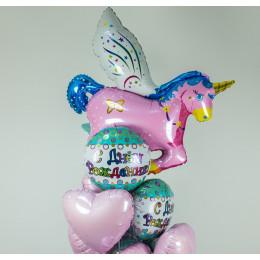 Букет шариков с розовым единорогом на день рождения