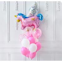 Букет шариков нежных цветов с розовым единорогом