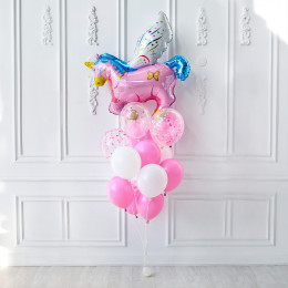 Букет шариков нежных цветов с розовым единорогом - дополнительное фото #1