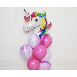 Букет шариков Радужный единорог с агатами - дополнительное фото #2