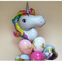 Букет шариков Радужный единорог на День Рождения