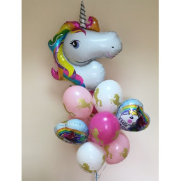Букет шариков Радужный единорог на день рождения - дополнительное фото #1