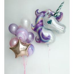 Композиция из шаров Фиолетовый единорог с фонтаном